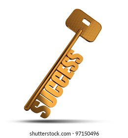 Success gold key isolated on white  background - Gold key with Success text as symbol for success in business - Conceptual image