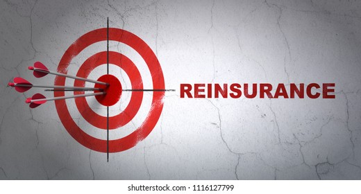 Success Insurance concept: arrows hitting the center of target, Red Reinsurance on wall background, 3D rendering