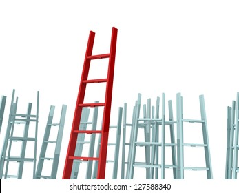 Success, leadership on business concept, red ladder standing out from the crowd, isolated on white background.