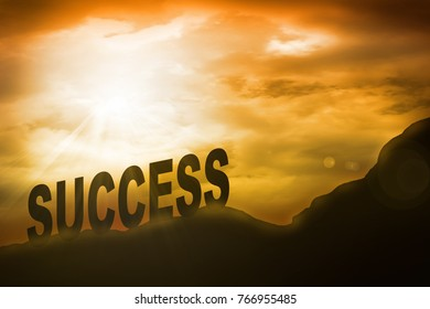 Success message in sunset background. business concept