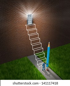 Success planning business concept as a businessman holding a pencil that has drawn a sketch of a future planned staircase with steps leading to a glowing door to build a bridge to opportunity.
