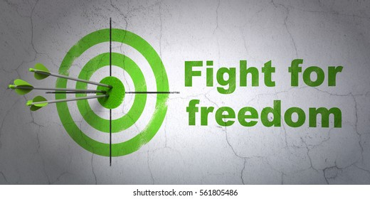 Success politics concept: arrows hitting the center of target, Green Fight For Freedom on wall background, 3D rendering