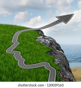 Success and risk and believing in yourself with education and planning setting your mind free with a highway in the shape of a human head going up as an arrow over a dangerous rock cliff.