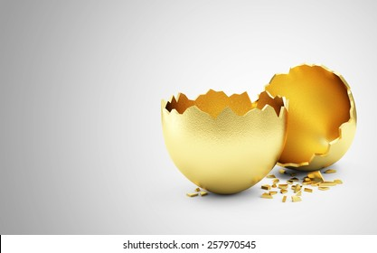 Success Symbol or Happy Easter Concept. Empty Broken Big Golden Egg on gradient background with place for Your text