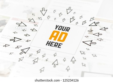 """Success web advertisement with text """"YOUR AD HERE"""" and lot of clicking pointers around. Conceptual image."""