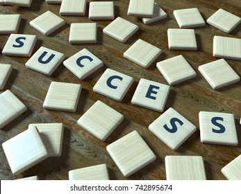 Success - wooden toy pieces on a table - word - 3d render
