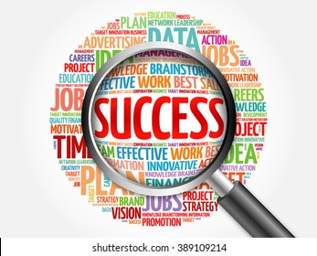Success word cloud with magnifying glass, business concept