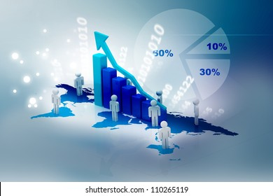 Successful business in abstract background