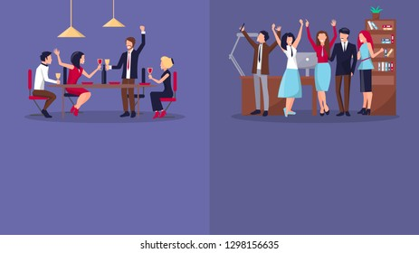 Successful business and company two posters with people having party at club or office. Background of raster illustration is purple