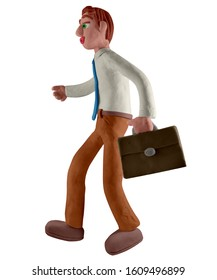 Successful businessman walking with a briefcase to work. Handmade with plasticine or clay. Isolated on white background – Illustration 3D