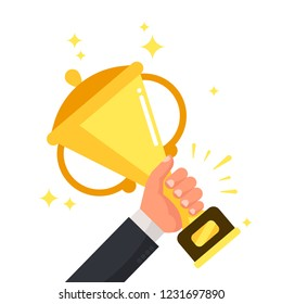 Successful competitive winner holding golden cup in hand. Prize for winning competition achievement, champion success leadership award cartoon colorful  flat illustration