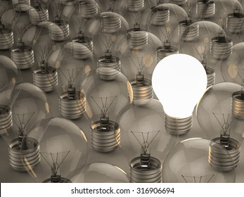 successful concept with light up lightbulb illustration