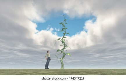 Successful farmer looking up to his big  beanstalk growing up to the sky and creates a hole in the clouds. This is a 3d render illustration