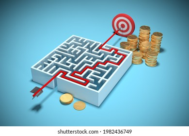 Successful investment concept and money make money. Know the way to profit. Labyrinth symbolize hard way for investment success, 3D render.