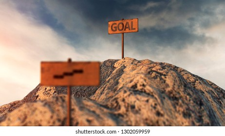 Successful overcoming obstacles 3D illustration