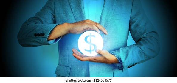 Successful professional businessman hand holding dollar money of financial technology investment growth security planning on global digital banking wealth fund management saving with beyond experience