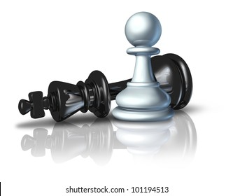 Successful strategy and a winning business plan symbol represented by a pawn defeating the chess king as an icon of David and Goliath concept on a white background.