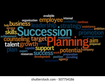 Succession Planning, word cloud concept on black background.
