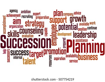 Succession Planning, word cloud concept on white background.