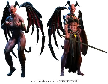 Succubus , demons or devils 3D illustration
