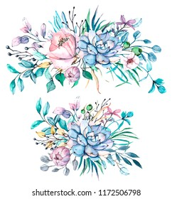 Succulents flowers, watercolor  illustration blue, pink, purple bouquets for greeting cards, invitations, and other printing projects. Isolated on white. Hand drawn.