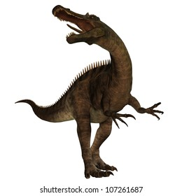 Suchomimus 01 - Suchomimus was a large Spinosaurid dinosaur with a crocodile-like set of jaws. It lived in the Cretaceous period in Africa, when it was a lush swampy habitat.