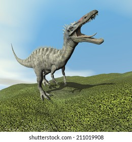 Suchomimus dinosaur roaring while walking on the grass by day - 3D render