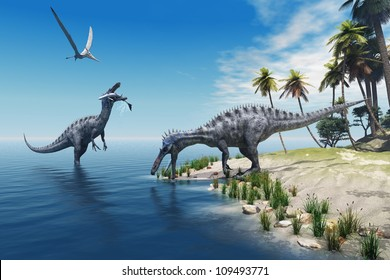 Suchomimus Dinosaurs - A large fish is caught by a Suchomimus dinosaur while a flying Pterosaur dinosaur watches for scraps to eat.