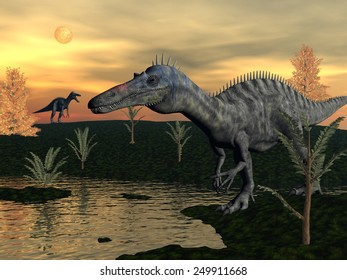 Suchomimus dinosaurs walking next to pond, pachypteris and bald cypres trees by sunset - 3D render