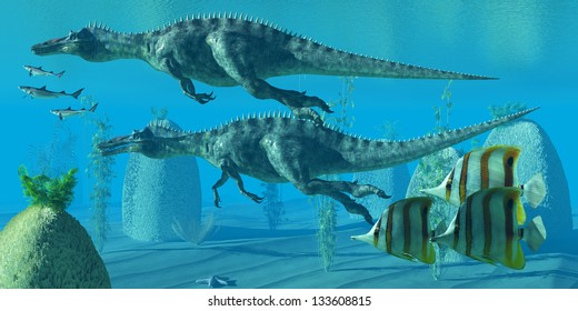 Suchomimus Dive - Two Suchomimus dinosaurs dive and search for big fish prey to capture and eat.
