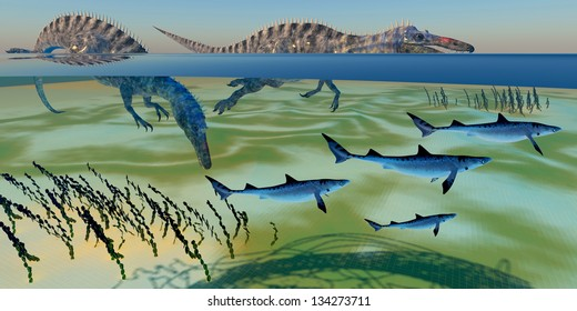 Suchomimus Hunting Fish - The Suchomimus dinosaur was a great hunter of the oceans diving for fish prey.