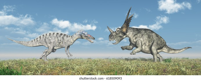 Suchomimus and Styracosaurus attacking each other Computer generated 3D illustration