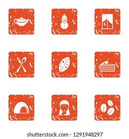 Sucrose icons set. Grunge set of 9 sucrose icons for web isolated on white background