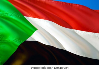 Sudan flag. 3D Waving flag design. The national symbol of St Helena, 3D rendering. National colors and National flag of Sudan for a background. Sudan sign on smooth silk