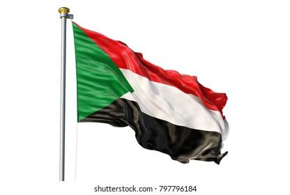 Sudan flag. Isolated 3d Sudan flag
