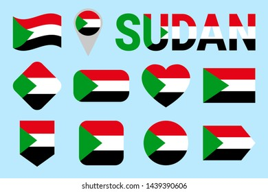Sudan flag set. Different geometric shapes. Flat style. Sudanese flags collection. Can use for sports, national, travel, geographic design elements. isolated icons with state name