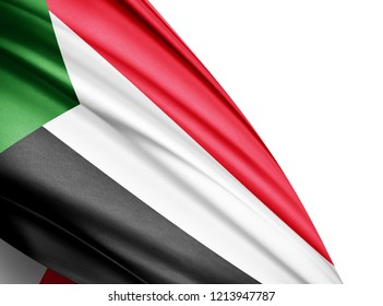 Sudan  flag of silk with copyspace for your text or images and white background-3D illustration