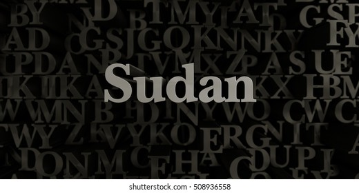 Sudan - Stock image of 3D rendered metallic typeset headline illustration.  Can be used for an online banner ad or a print postcard.