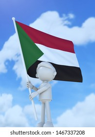 The Sudanese athlete which rises with a national flag 3d illustration