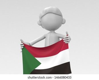 The Sudanese athlete who puts up a national flag 3d illustration