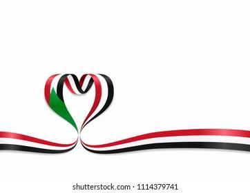 Sudanese flag heart-shaped wavy ribbon. Raster version.