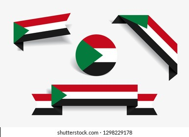 Sudanese flag stickers and labels set. Raster version.