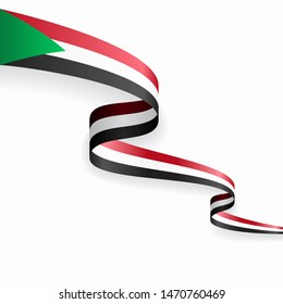 Sudanese flag wavy abstract background layout. Raster version.