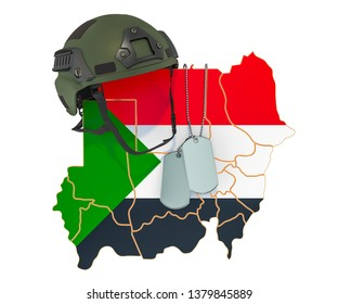 Sudanese military force, army or war concept. 3D rendering isolated on white background