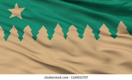 Sudbury City Flag, Country Canada, Ontario, Closeup View, 3D Rendering