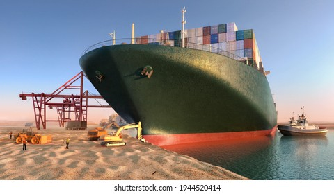 Suez Wasserstraßenblockade. Bemühungen, Hochzeitcontainer-Frachtschiff wieder zu beleben. Im Suezkanal wächst der Seeverkehr der Frachtschiffe. Seit jeher in der Suez Canal Handelsstraße 3D-Illustration