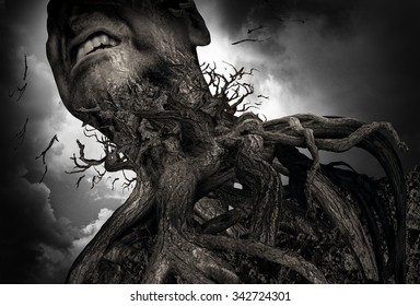 Suffering and pain concept as a tree and roots shaped as a human experiencing intense torture and mental agony as a psychology metaphor for misery or trapped by addiction.