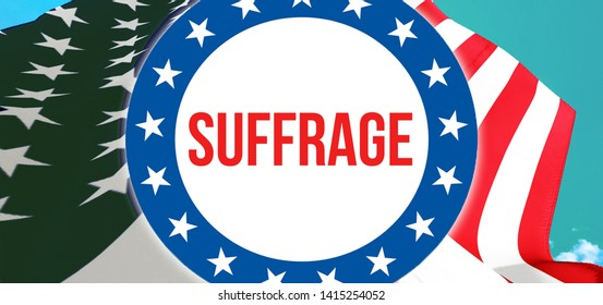 suffrage election on a USA background, 3D rendering. United States of America flag waving in the wind. Voting, Freedom Democracy, suffrage concept. US Presidential election banner