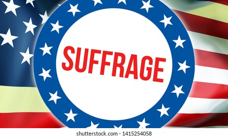 suffrage election on a USA background, 3D rendering. United States of America flag waving in the wind. Voting, Freedom Democracy, suffrage concept. US Presidential election