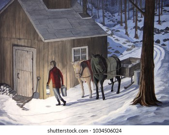 Sugar bush nighttime scene.  A man carries pails of sap to a sugar shack while horses and sleigh wait nearby.  Typical Canadian scene.